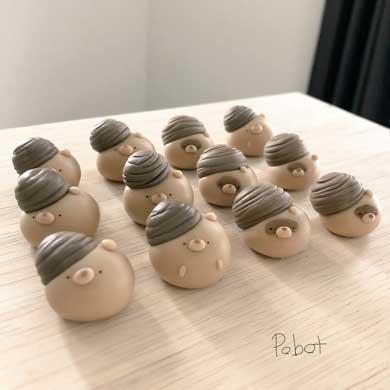 ジンベエザメ餅 粘土 和菓子 動物 作品