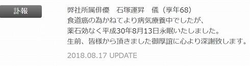 石塚運昇 声優 逝去 オーキド博士 死因 食道がん 青二プロダクション