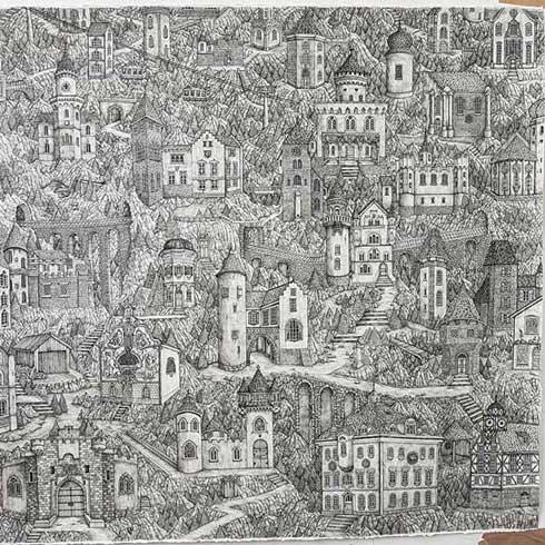 ペン画 細かい ファンタジー 風景 建物 Olivia Kemp