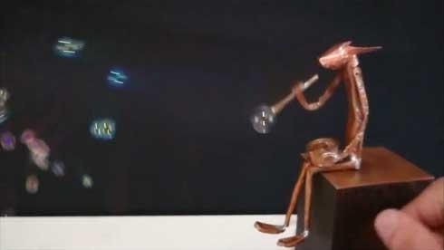 シャボン玉 吹く からくり人形 ハンドメイド 動く