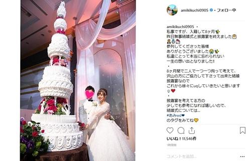 菊地亜美 結婚式 ウエディングケーキ 新婚 妊娠 入籍