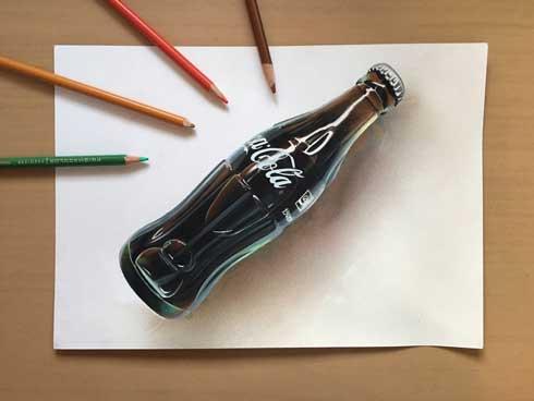 オロナミンC 絵 リアル 色鉛筆 トリックアート