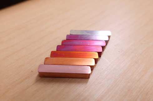 銅 焼く 酸化膜 色変化 美しい グラデーション 銀色