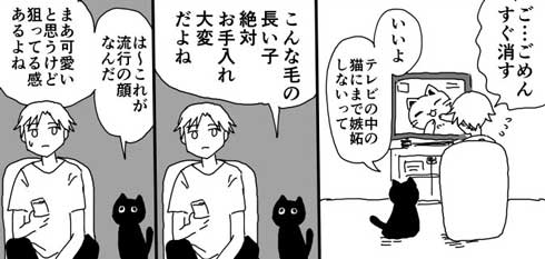 猫ちゃんの嫉妬はただただかわいい 大好きな飼い主を独占したい彼女みたいな黒猫さんがかわいい漫画 ねとらぼ