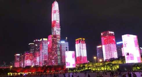 深セン ビル LEDマッピング 中国 改革開放40年 記念行事