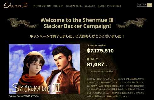 シェンムー 3 支援 金額 集計結果 8億円