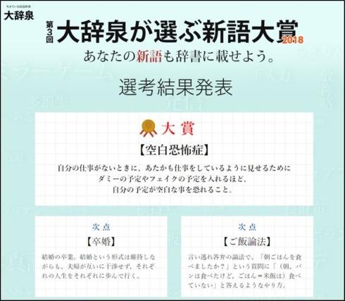 小学館 国語辞典 大辞泉 新語大賞2018 空白恐怖症 卒婚 ご飯論法
