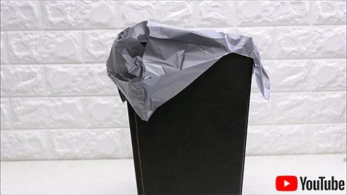 ごみ箱にビニール袋をかけたところ