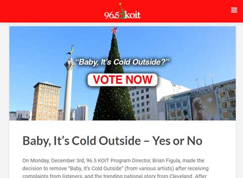 Baby It's Cold Outside おもて寒いよね クリスマス 定番曲 ラジオ 放送中止 MeToo運動