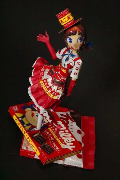 ミルキーチョコレート お菓子 空き箱 ペコちゃん フィギュア 工作