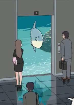 エレベーター 動物 GIF 動画 面白み ペンギン 猫