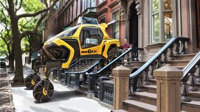車輪での走行とロボットのような歩行を組み合わせ、段差や悪路にも対応する