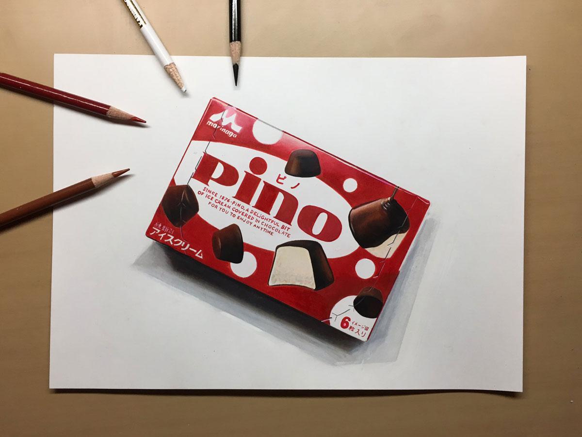 色鉛筆でピノ描きました描いた絵はどちらに リアルすぎるピノ