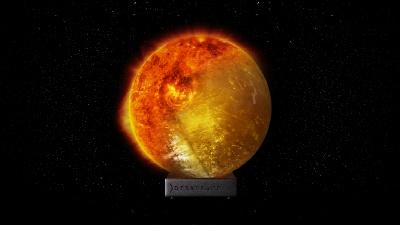 ゴールデンカルサイトで太陽を表現
