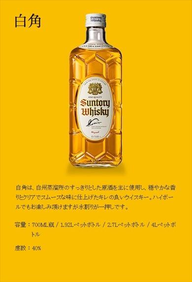 サントリー ウイスキー 白角 角瓶