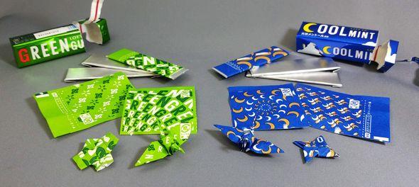 ロッテ ガム 包み紙 折り紙 おりがみ