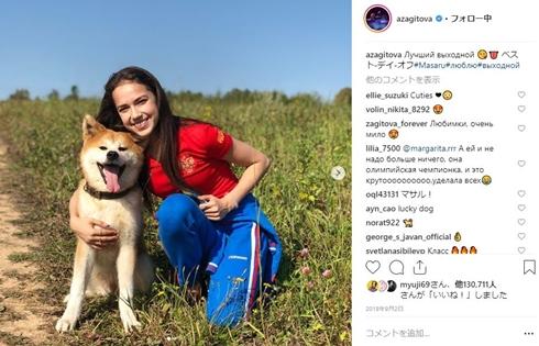 アリーナ・ザギトワ ロシア フィギュアスケート マサル 秋田犬