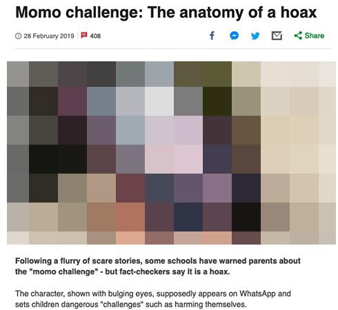 「ただのフェイクニュース」 怖い画像で自傷要求するモモ・チャレンジはデマだった