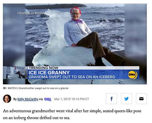 「アナ雪3」「60歳のエルサ」 氷の玉座に腰掛けたおばあちゃん流されるも即座に救助