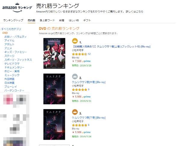 ケムリクサ オリコン ランキング Blu-ray 1位