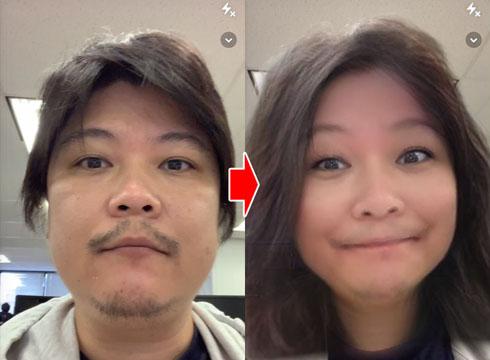 スマホアプリで異性や子どもの姿に変身! 「Snapchat」の写真 ...