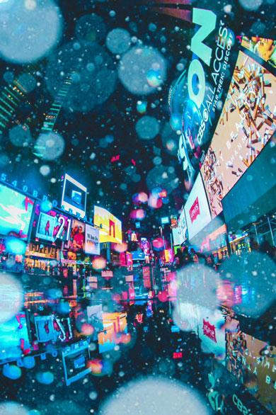 雨 撮影 NY 写真 ニューヨーク 夜 ネオン 幻想的
