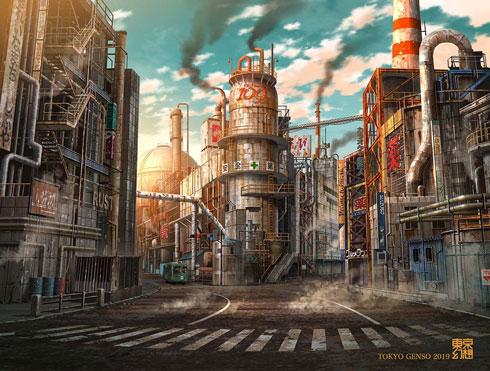 東京幻想 イラスト 新宿駅南口 緑 廃墟 綺麗 荒廃 未来 CG アート