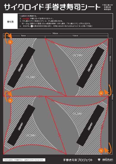 ミツカン サイクロイド手巻き寿司 特製海苔型シート デザイン サイクロイド曲線