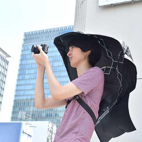 背負う 日傘 マイシャドーブレラ サンコー ハンズフリー
