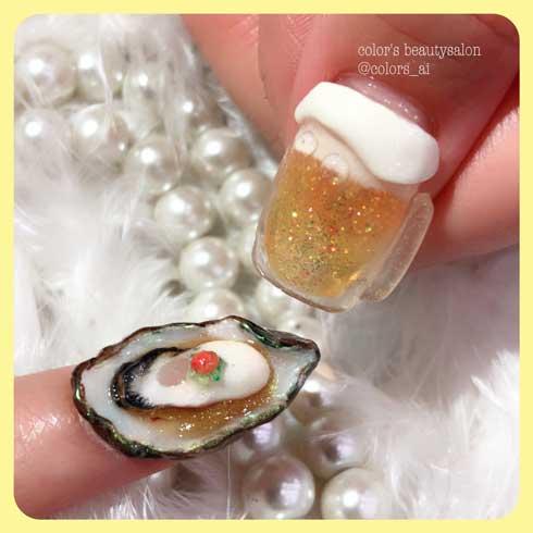 牡蠣ネイル 生牡蠣 color's リアル 爪 アート