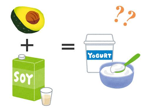 アボカドと豆乳とヨーグルトのイラスト