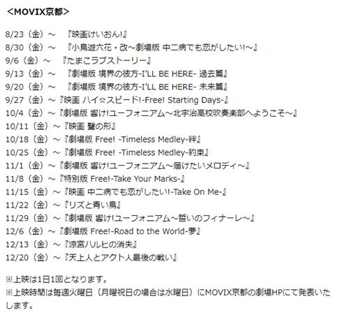 松竹、京都アニメーションの映画18作品の特集上映を決定 新宿ピカデリー、MOVIX京都で