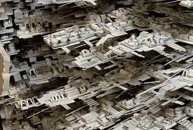 デス・スター2 第2 模型 手作り 製作 スミ入れ  スター・ウォーズ エピソード6 ジェダイの帰還