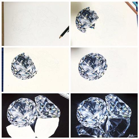 色鉛筆 描いた ダイヤモンド 制作 過程 リアル