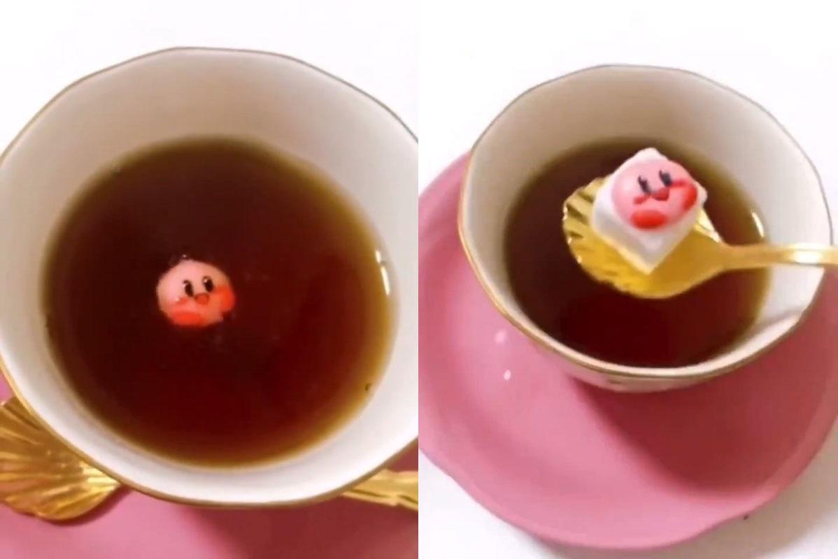 カービィが紅茶の中からフワ~ッ アイシングで作った「カービィ砂糖」が超絶キュート