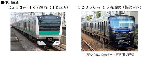 相鉄・JR直通線に使用される車両。相鉄の電車が初めて都内に乗り入れます