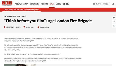 「通報するより録画する人が多い」 ロンドン消防隊が火災現場での対応呼びかけ