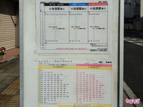 伊豆箱根バスが毎時6〜9本通るほか、箱根登山バスの時刻表はまさかの山手線方式