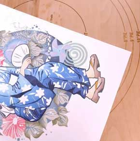 田口奈津子 消しゴムはんこ 浴衣 朝顔 34版 グラデーション 制作過程
