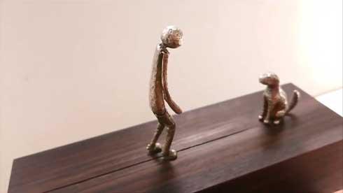 からくり人形 再会 取っ手 回す 小さな人 歩き出す 犬 尻尾 動く 感動 アトリエpuchuco