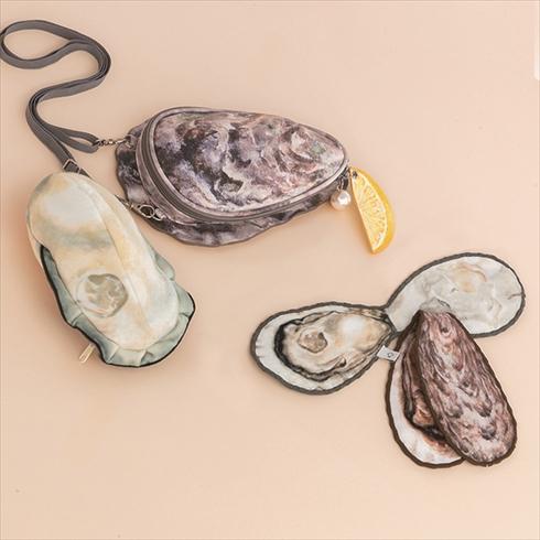 牡蠣のポーチ付き ショルダーバッグ 牡蠣ハンカチ