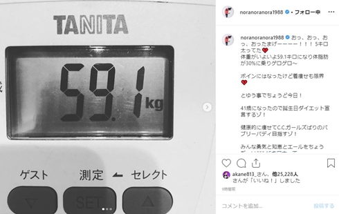 平野ノラ ダイエット 体重 身長 体脂肪率