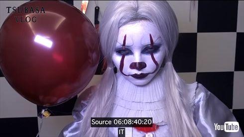 益若つばさ ハロウィーン 仮装 ペニーワイズ IT インスタ コスプレ YouTube メイク 動画