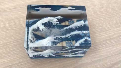富嶽三十六景 神奈川沖浪裏 立体化 レジン ハンドメイド Jade