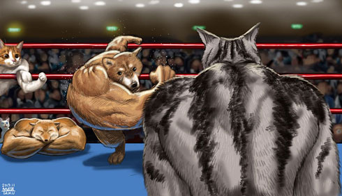 最強獣タッグ ムキムキ マッチョ 犬 猫 キツネ 動物 集合 イラスト 絵