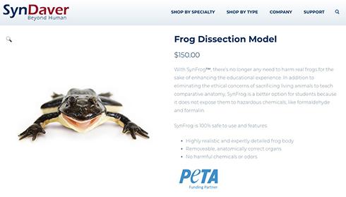 リアルすぎる人工カエルで解剖実験 フロリダ州の高校が世界に先駆け実施