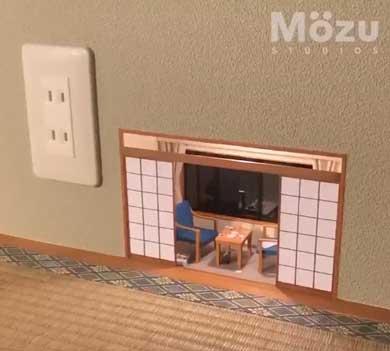 こびとの秘密基地 ミニチュア 手作り Mozu 部屋 コンセント 壁 展覧会