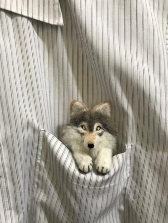 オオカミブローチポケット入り