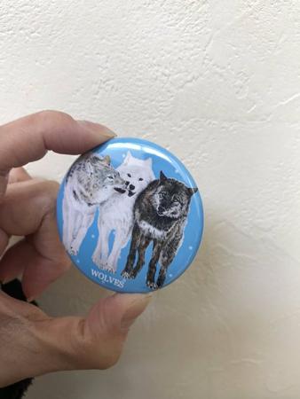 オオカミのイラスト缶ミラー