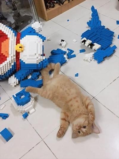 猫に壊されたドラえもん